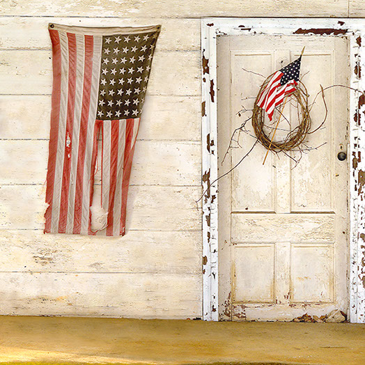 American Flag and Old Door